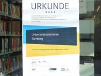 BIX-Urkunde der Unibibliothek Bamberg