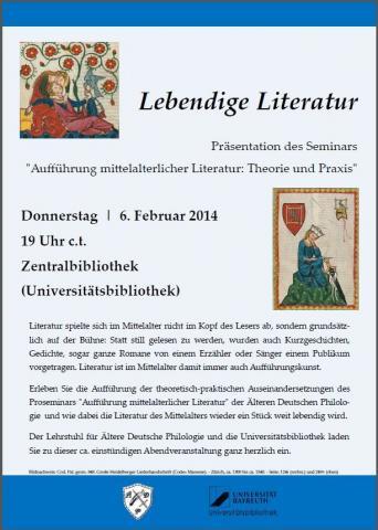 Plakat zur Aufführung Lebendige Literatur